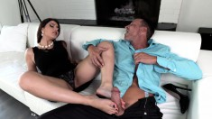 Italian babe has a foot fetish he loves as much as fucking and cumming on them