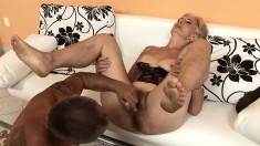 Mature blonde's curvy butt gets all red from all the heavy slamming