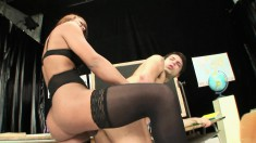 Big breasted shemale in lingerie indulges in anal sex with a student
