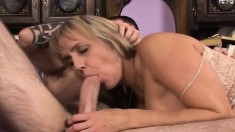 Curvy blonde Wanda bends over to have her pink asscrack plugged