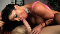 Large boobed MILF gobbles up his dick and he pounds her wet hole