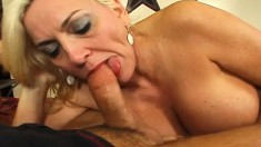 Stacked blonde mom Cara can't get enough of a young stud's hard cock