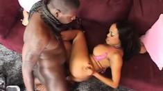 Dark skinned goddess Sandra London knows how to please a black stick