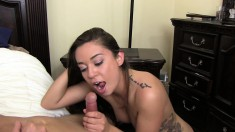 Cute little brunette chews on his meat and gets her cunt plowed