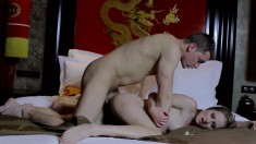 After dinner date turns into some wild oral sex and deep cunny blasting