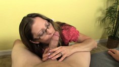 Lucky dude gets his big shaft sucked by his girlfriend's lustful mom