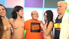 Virgin guy with glasses has a group of wild chicks pleasing his cock
