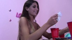 Horny brunettes Jennifer White and August Ames tease a hard cock in a hot threesome
