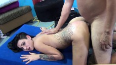 Wild tattooed brunette Aimee Black fucks a hard pole every way she can