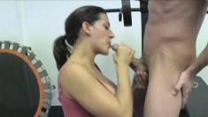 Stacked Brunette Milf In High Heels Leena Sky Gives A Sensual Blowjob
