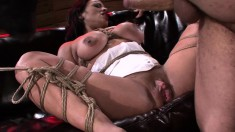Busty babe Becca Diamond is tied up to suck dick and get hammered