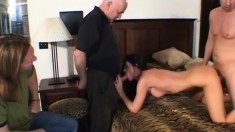Slender brunette housewife takes a cock for a ride and her man watches