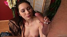 Astounding brunette with big, natural breasts feels that amazing hardness