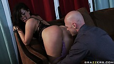 After giving him head she sits her ass down on his prick, then gets licked