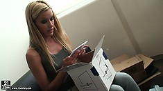 Sexy blonde babe goes through some packages sent by her fans