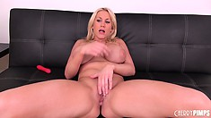 She sucks her toy and then gets a hard cock she can suck on too
