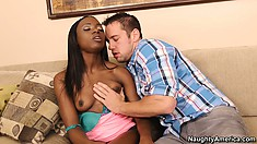 Cute ebony Ana Foxxx gets a white lover who licks up her cunt