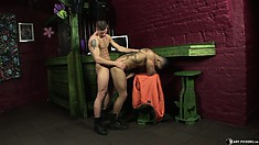 Tattooed studs ram each other in the ass with their hard swizzle sticks