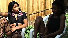 Three ebony lesbians meet up outside and shower before going to bed