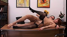 Mature slut Brunette Rita gets to play with her young boss' cock