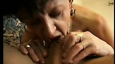 Middle-aged slut Lois loves gulping strong and throbbing kielbasa