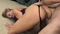 Blonde cougar Porscha Ride plays with her clit while the black stud drills her ass