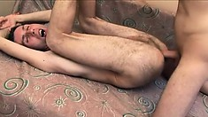 Vlada relishes every thrust of cock in his tight anal hole bareback