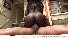 Jasmine, a wonderful dark skinned babe with big tits and a divine ass, loves to fuck