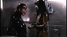 Latex slave with a ball gag gets whipped in the torture chamber