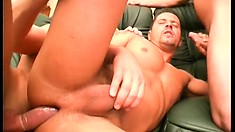 Jocks tear into each other with their hungry cocks on the couch