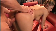 Blonde cougar gets down to work on a big fat cock until it cums