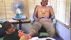 Barber with an obsession with feet bangs his well hung customer