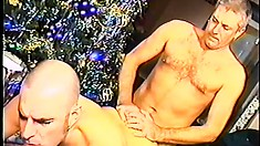 Hot young stud has a dirty old man tasting and fucking his anal hole