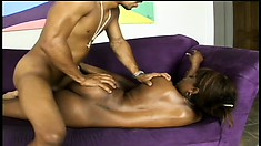 Curvaceous chocolate babe sucks and fucks a huge black rod with desire