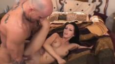 Jenna devours a huge cock before it slides deep down her snatch