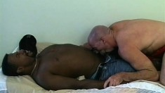 Muscular interracial couple get rough and nasty on each other's poles