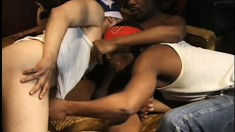 Insatiable black dude is having nice oral and anal sex with his buddies