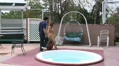 Shy redhead teen has a bunch of horny guys drilling her holes outside