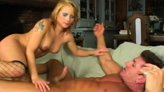 Hot blonde Milf in fishnets blows his rod and gets it up her butt with ATM