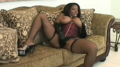 Curvy black bitch with a hot rack takes some rough anal ravaging