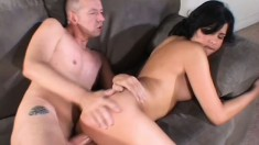 Lovely young Latina with nice tits Celina gets fucked hard on the couch