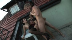 Bisexual couple invites a handsome young man to play with them