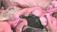 Voluptuous blondes Crystal Wilder and Micki Lynn engage in lesbian sex