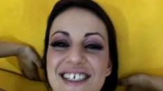 Trashy brunette Naudia Nyce takes a hard prick up her butt POV style