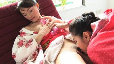 Exotic beauties Mona and Mind indulge in passionate lesbian action