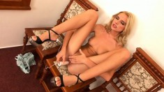 Cock starving blonde Bambi makes herself cum hard with her new dildo