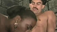Skinny white guard gets horny and bangs a curvy black prisoner