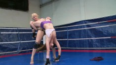 Hot Celine Doll and Aleska Diamond get naked and fight in the ring
