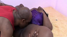 Chunky ebony woman Ms. Cleo getting pounded by Rock all over the bed
