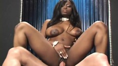 Big breasted Jada plays with a dildo and then fucks a stiff white dick